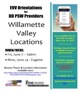 EVV Orientation Dates for Willamette Valley